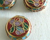 SALE 6 13x5mm Handmade Cloisonne Beads Gold Plated Brass Flower Round  b2630