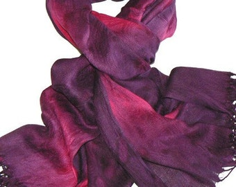 Paisley Jacquard Artificial Cotton Wrap Shawl Scarf Hand Colored Purple Tone 1