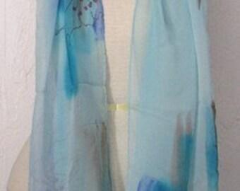 Brush Blue Oblong Silk Scarf Handmade