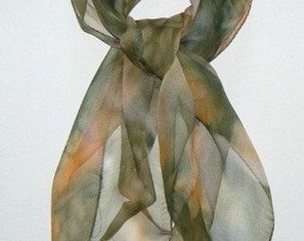Natural Forest II Bandana Silk Scarf Hand Painted Handmade