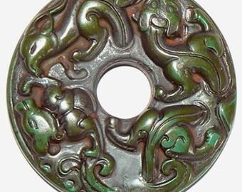 1 Extra Large Green Cinnebar Donut Bead Pendant Animal