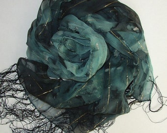 Hand Painted Silk Scarf Oblong Blue Blue Blue