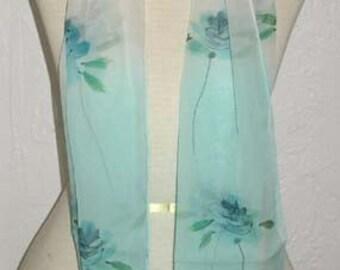SALE Blue Sky Silk Scarf Oblone Flowers