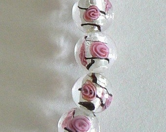 SALE 9 12mm Focal Glass Lampwork Round Pink Rose Bead b1766