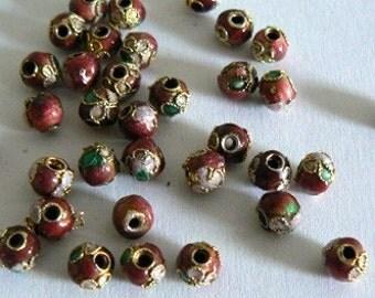 40 5mm Handmade Cloisonne Beads Flower Small Red