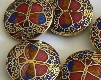 1PC 25x7mm Handmade Cloisonne Beads Butterfly Bead Elegant Classic
