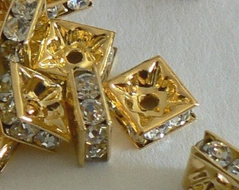 SALE 10pc 8mm Gold-plated Rhinestone Squaredelle Beads Bead Crystal