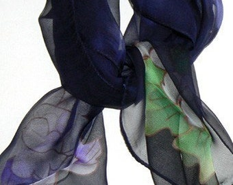 Blue Blooming Hand Made Silk Scarf Bandana Hand Colored