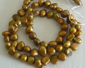 15inch Strand 6-7mm Blister Freshwater Pearl Beads Dyed Gold b1408