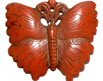 1 Extra Large Red Cinnabar Bead Pendant Fancy Butterfly b1480