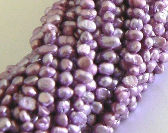 SALE 1 Strand 4-5mm Blister Natural Freshwater Pearl Beads Dyed Purple
