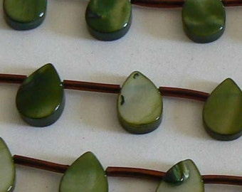 SALE 1 Hank 8x12mm Mother of Pear Shell Flat Teardrop Beads Olive Green