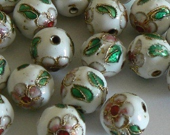 20 12mm Handmade Cloisonne Beads Flower White Bead