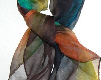 Autumn View II Hand Made Silk Scarf Bandana Hand Colored