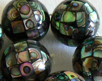 SALE 4 Large 18mm Natural Abalone Shell Bead Ball Round