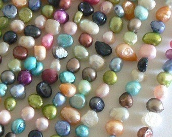 15inch 5-7mm Blister Natural Freshwater Pearl Beads Dyed Mix Color