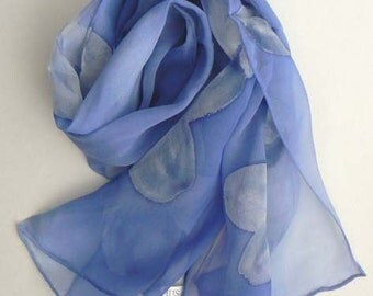 New Design Silk Scarf Handmade Blue Blues