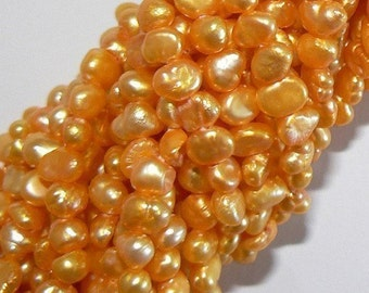SALE 1 Strand 5-6mm Blister Natural Freshwater Pearl Beads Dyed Golden Orange