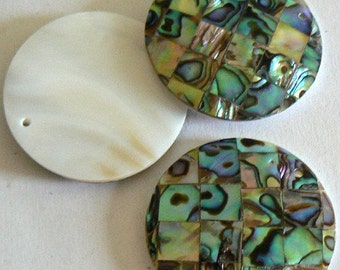SALE 1 Large Natural Abalone Shell Bead Pendant 35mm