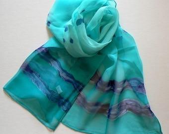 SALE Hand Colored Silk Scarf Sky  Ocean