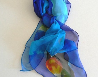 Blue Flower Hand Made Silk Scarf Bandana Hand Colored Impressionist