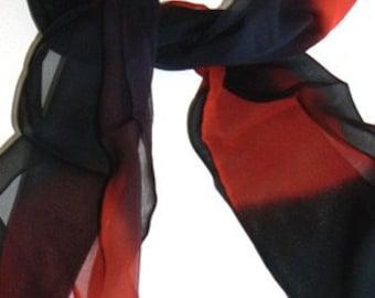 SALE Hand Painted Silk Scarf Oblong Handmade hand Dye Black Red
