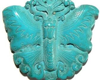 SALE 1 Large Cinnabar Bead Pendant  Butterfly b1491