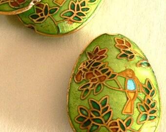 SALE 1pc 25x35x10mm Handmade Cloisonne Beads Flower Bird Bead Mint Liquid Gold