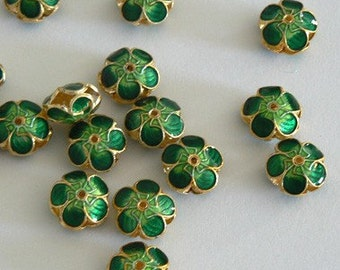 6 11x6mm Handmade Cloisonne Beads Gold Plated Small Cherry Blossom Green