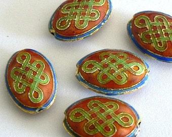SALE 4 14x20x6mm Handmade Cloisonne Beads Gold Plated Brass Lucky Charm Orange
