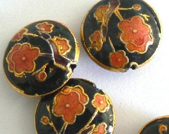 6 18x7mm Handmade Cloisonne Beads Cherry Blossom Round Flat Black