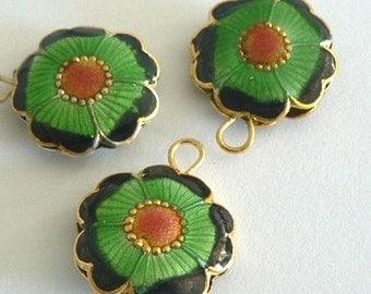 SALE 6 20x7mm Handmade Cloisonne Beads Flower Round Flat Green