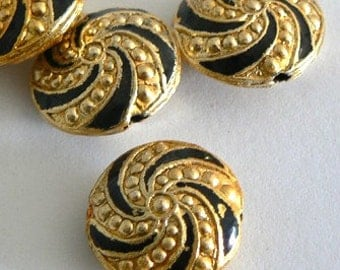 4 16x8mm Handmade Cloisonne Beads Gold Plated Brass Round Black Gold