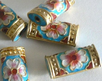 4 10x20x6mm Handmade Cloisonne Beads Floral Bead Turqouise b2193