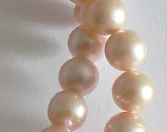 SALE 10pc 8-9mm  AA Freshwater Pearl Beads Round Natural Light Orange b2236