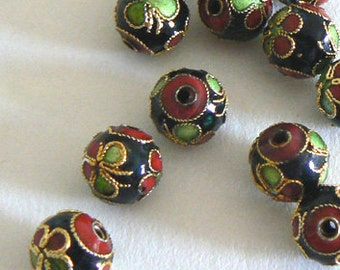 10 10mm Handmade Cloisonne Beads Gold Plated Round Flower Black