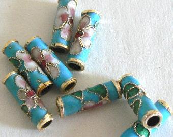 10 5x15mm Handmade Cloisonne Beads Tube Bead Flower Large Hole Gold Blue b2371