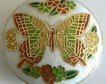 1 45x11mm Handmade Cloisonne Beads Big Butterfly Bead Coin b2398