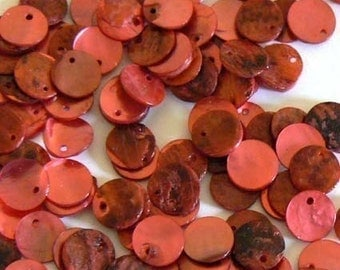SALE 200 10mm Natural Shell Beads Red