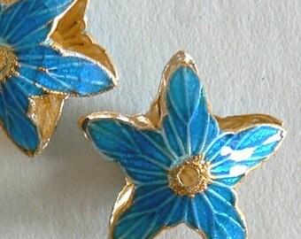 SALE 6 Handmade Cloisonne Beads Open Rounds 20mm Star Gold Sky Blue b2590
