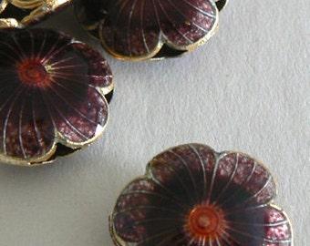 SALE 6 Handmade Cloisonne Beads Open Rounds 20x7mm 6 Petal Flower Bead Gold Purple b2601
