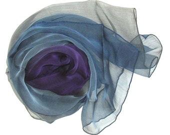 Hand Made Rainbow Veil Pure Silk Scarf, Blue-Purple