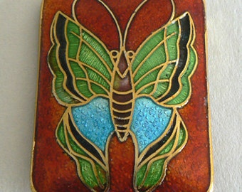 SALE 1 Large 1 1/4 x 1 1/2 inch Handmade Cloisonne Beads Butterfly b2671
