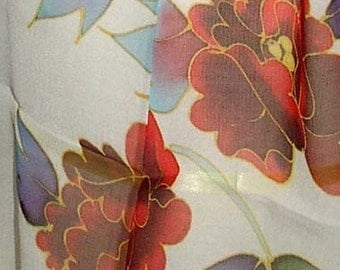 Hand Pained Silk Scarf Oblong Flowers