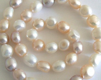 SALE 15inch 8-9mm Natural Freshwater Pearl Beads Nugget Multicolor b1638