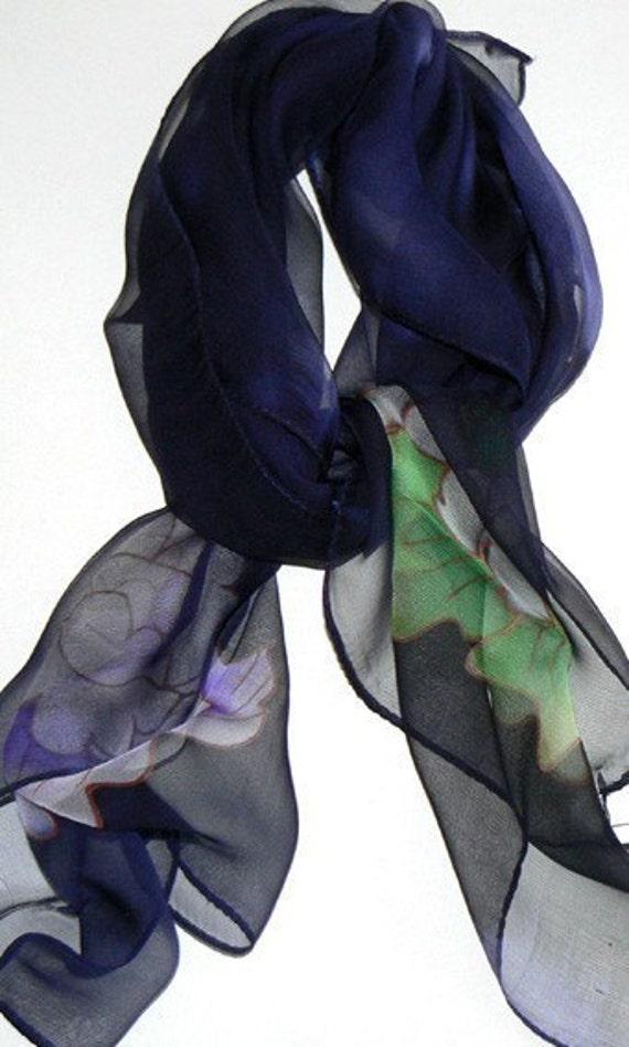 Blue Blooming Hand Made Silk Scarf Bandana Hand Colored