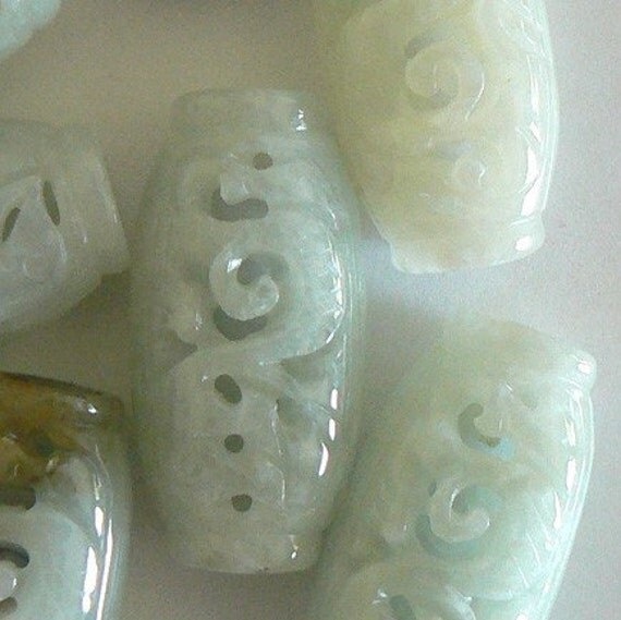 1 Hand Carved Jadeite Jade All Natural Color Grand A Bead 18x30x12mm