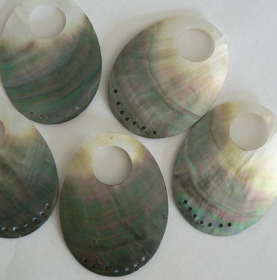 2 HUGE 50x70mm Mother of Pearl Black Lip Shell Bead Pendant