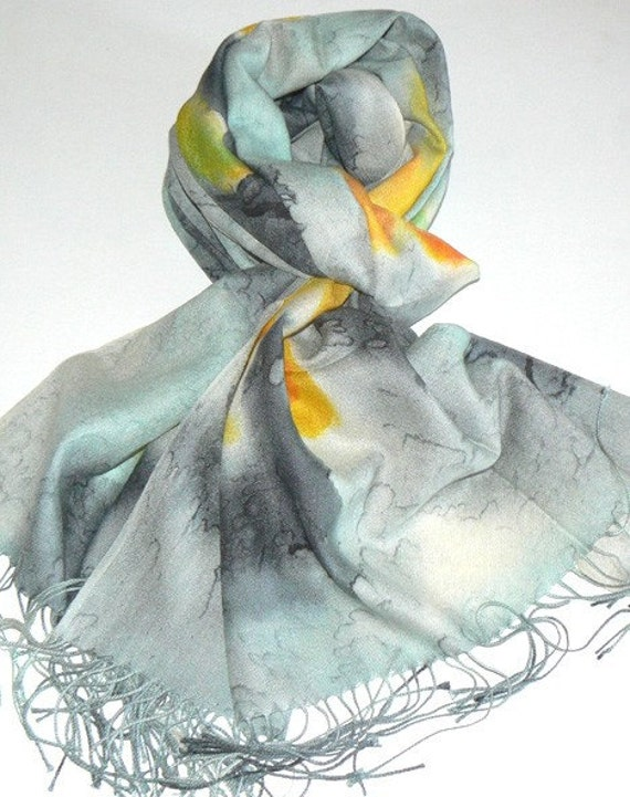Blooming in Silver Pashmina Wool Scarf Shawl Wrap Handmade