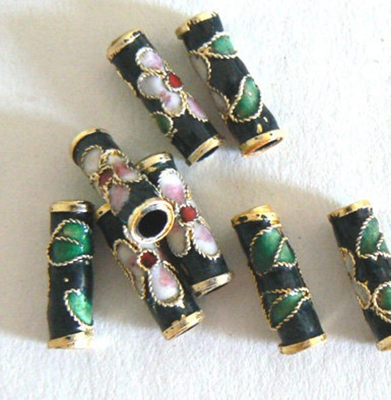 9 5x15mm Handmade Cloisonne Beads Tube Bead Flower Large Hole Gold Black b2375 1